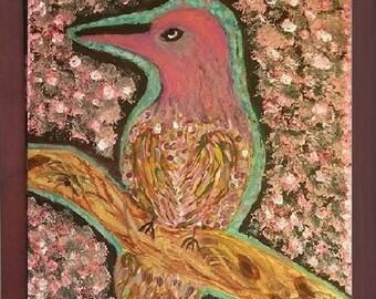 Original Mixed Medium Textured Bird 16X20 Canvas Painting