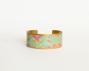 "Bracelet ethnic ""Bollywood Party"" - wide - protected paper - brass"
