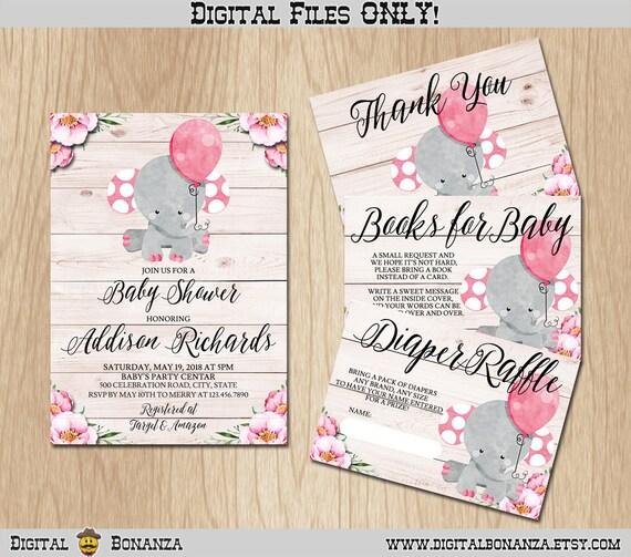 Girl elephant baby shower invitation printable girl baby shower il570xn filmwisefo