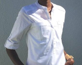 BELLE Cotton Mandarin Collar Shirt