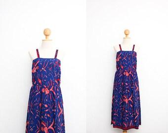 60s Vintage Batik Dress | Indonesian Vintage Apron Dress | Cotton Batik Hand Dyed Sundress | Ethnic Asian Dress | Summer Beach Dress | 34 XS