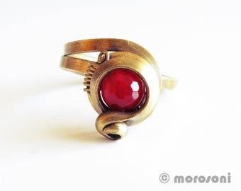 Ethnic - raspberry pink - Adjustable ring antique - bronze