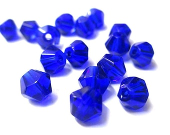 20 dark blue glass beads 6mm