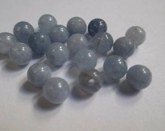 20 beads aquamarine 6 mm (G-05)