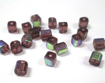 20 purple square 4mm electroplate glass beads