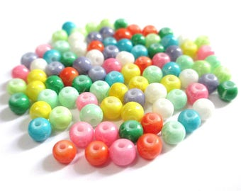 100 cracked glass beads mix color 4mm