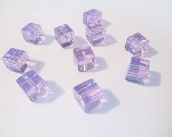 10 purple glass 8x8mm square beads