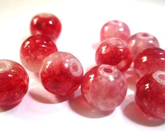 10 pearls red and white speckled clear 8mm