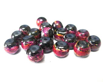 20 multicolored, black painted glass 6mm beads