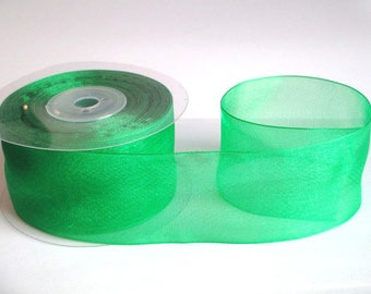 1 m 40mm Green organza Ribbon