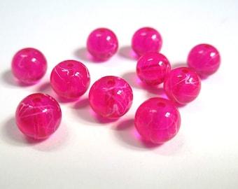 Pink translucent 8mm (1) 10 fuchsia drawbench beads