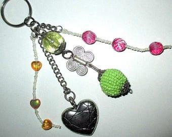 ღ bag charm pink & green with ♥ and Butterfly ღ / unique Piece!