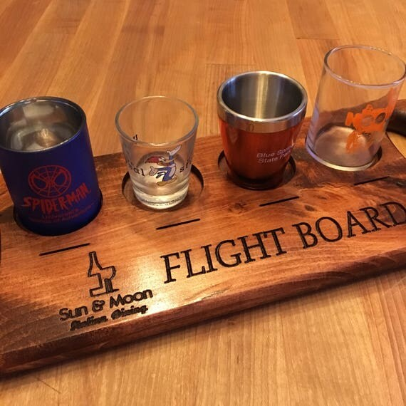 Personalized Engraved Beverage Flight Board, Flight Paddle, Beer Paddle, with Random Shot Glasses and Label Disk