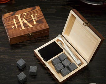 Classic Monogram Whiskey Stones Set & Gift Box | Perfect for Executives, Bosses, Groomsmen, Dads, Brothers, Christmas or Wedding Gifts