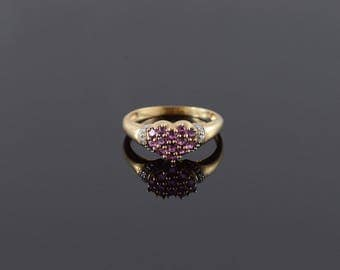 10k Amethyst Diamond Heart Cluster Ring Gold