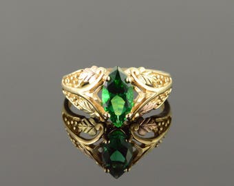14k 1.50 CT Imitation Marquise Emerald Black Hills Filigree Ring Gold