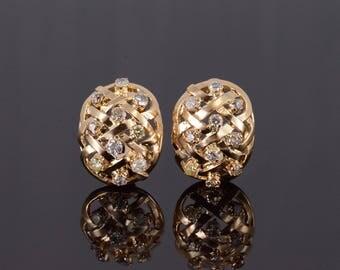 18k 2.40 Ctw Diamond Lattice Rounded French Back Earrings Gold