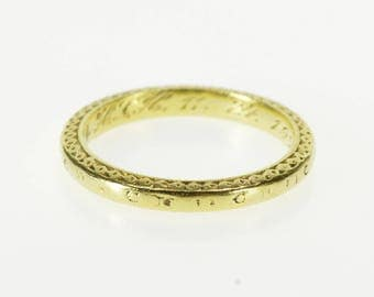 18K 1920's Ornate Floral Patterned Wedding Band Ring Size 4.25 Yellow Gold