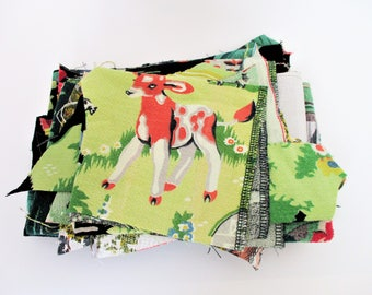 Destash, Vintage Barkcloth Scrap Fabric Assortment 1940s 1930s Fabric Sewing Quilting Assemblage Patchwork Crafts Remnants
