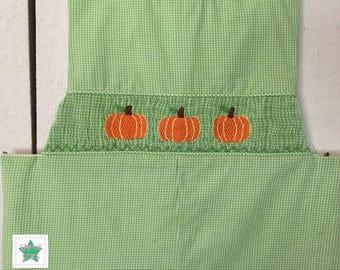 Smocked Pumpkin Longall, Smocked Boys Longall, Smocked Fall Longall