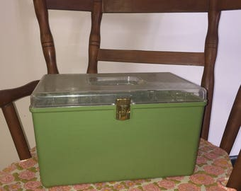 Wilhold Green Sewing Box Double Tray Wilson MFG
