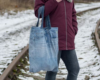 Recycled REPLAY jeans maxi bag with 6 pockets, shopping denim bag, shopping tote.