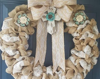 Lace the Cross Wreath