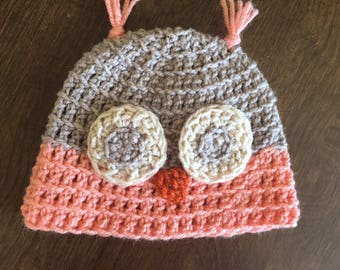 Crochet Baby Owl Hat (6-9 mo) ready to ship