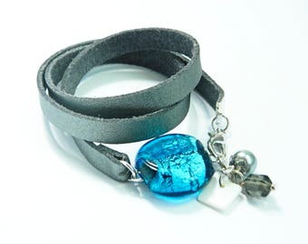 Turquoise silver bracelet, glass murano, handmade, wrap, jewelry, woman, accessories, fashion, gift, present,