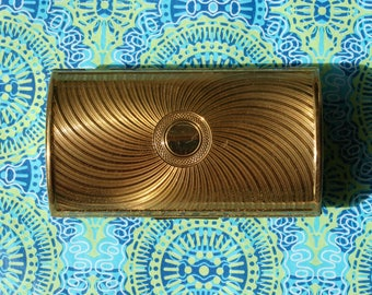 Vintage Boxed Kigu Gold Tone Cigarette Barrel Case 1950s