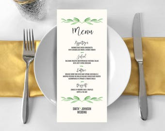 Personalized Printable Greenery Menu