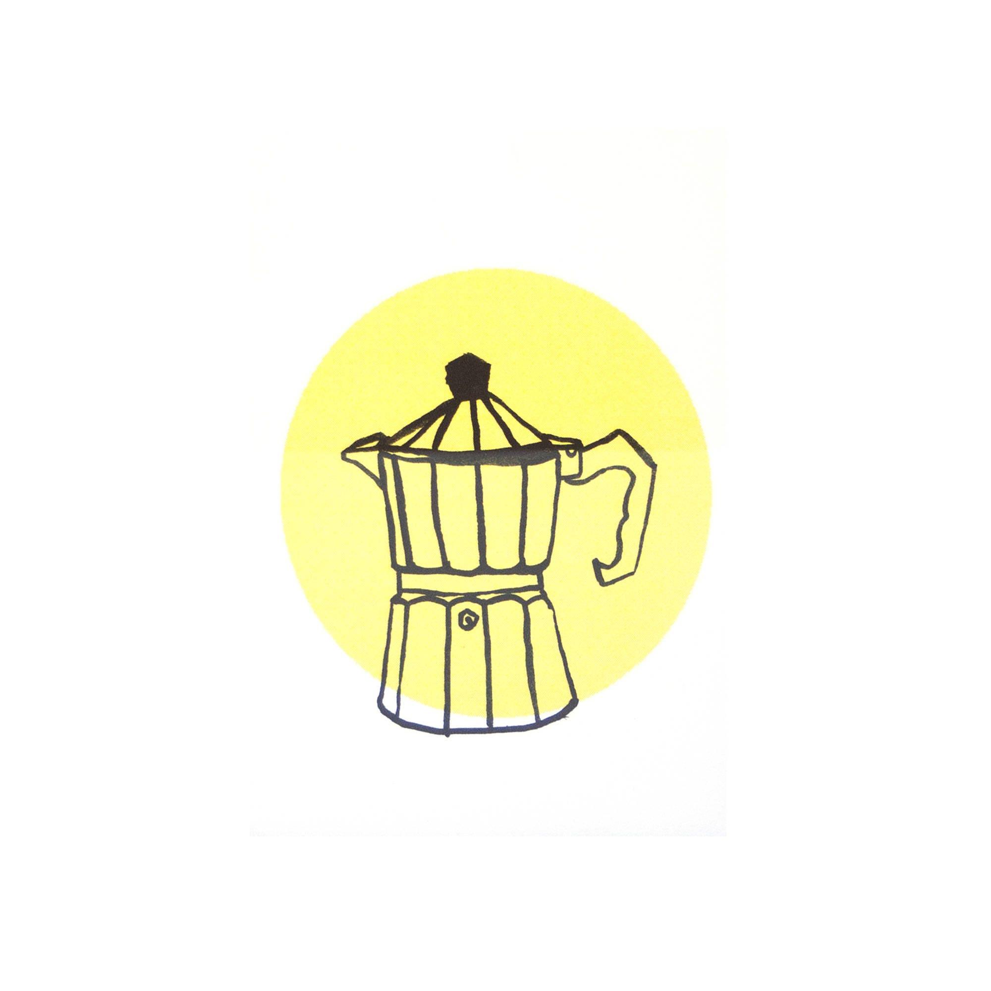 Riso print coffee, percolator, yellow wall decoration, art, print ...