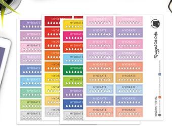 Hydration stickers // Hydration tracker // Water intake planner stickers // Water tracker