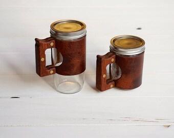 The Woods Mug in Autumn Harvest leather with a Hardwood Jatoba Handle