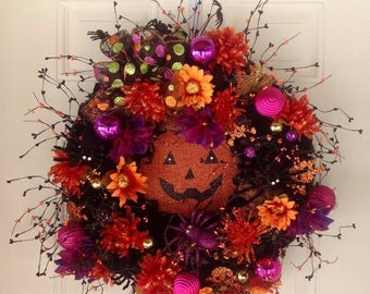 RED HOT SUMMER Sale Halloween Wreath, Pumpkin Wreath, Extra Large Wreath, Halloween Decor, Wall Decor, Front Door Wreath, Gate Wreath, Whims