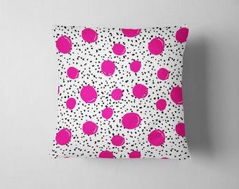 Pink and Black Polka Dots throw pillow