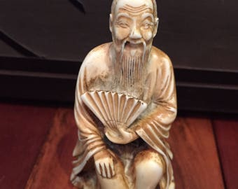 Vintage Resin Japanese Figurine / Vintage Resin Japanese Netsuke / Vintage Stonelite Original Resin Carved Art