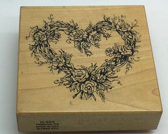 PSX Stamp Rubberstamp G-553 Heart Wreath Roses Floral Botanic Romantic Roses Valentine's Day Love 1993 Scrapbooking Wedding Anniversary