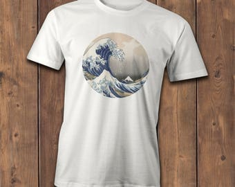 Great Wave T-Shirt, Famous Japanese wave artwork, The Great Wave off Kanagawa, Illustration Tee.