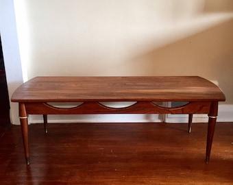 Mid-century surfboard coffee table. Walnut Coffee Table. Vintage Coffee table.