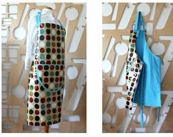 Handmade Apron Waterproof MOD Art Deco Wrap Pinafore Unique Grunge Hippie Boho Cafe owner Oilcloth Lined Apron 60s  Adult Oilcloth Apron