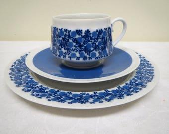 Arabia Finland, Doria  -Coffee Cup and Two Saucers. Raija Uosikkinen