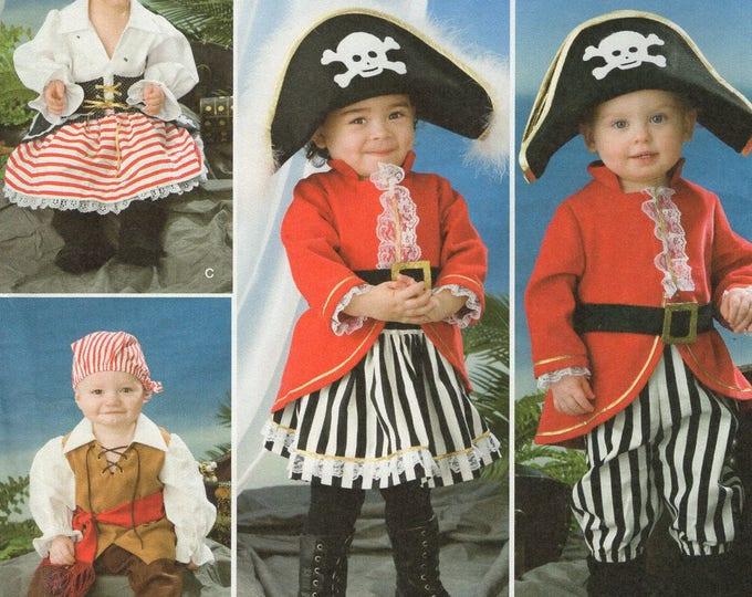 FREE Us SHIP Sewing Pattern Simplicity 2561 Boys Girls Halloween Costume Pirate Hats Dress Size 1/2-4 Uncut Size 6mo 1 2 3 4 New