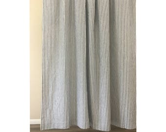 Striped Curtains | Etsy  Grey Striped Curtains