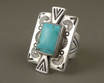 Sterling Silver Turquoise Ring, Vintage Carolyn Pollack 925 Silver And Turquoise Ring For Carlisle Silver, Adjustable Silver Ring, Unisex