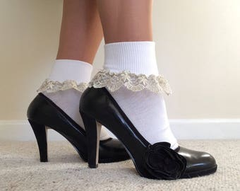 Women's white ankle socks edged in gold lace, Holiday socks, Women's formal ankle socks