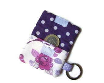 Pouch, case, cover for trolley token, key chain, flowers, dots, pink and purple
