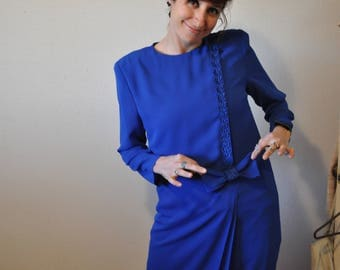 Vintage 1980s Henry Lee Long Sleeved Blue Dress with Lace Detail
