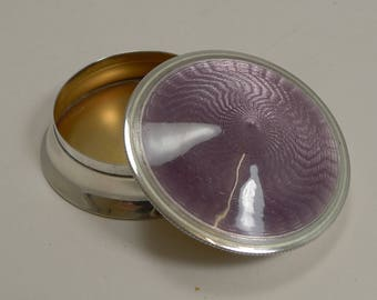 Exquisite Antique English Sterling Silver and Guilloche Enamel Box