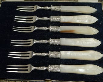 Antique English Sterling Silver & Mother of Pearl Cake or Desert Forks - 1906